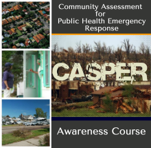 Collage of stylized photos depicting an aerial view of a neighborhood, community workers talking to residents at their front door, and images of homes destroyed by tornadoes.
