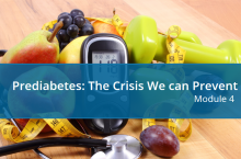 A photo of a pile of fruit, hand weights, a stethoscope, and a glucose reader, overlaid with course title