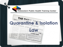 Image of newspaper with Quarantine and Isolation headline, overlaid by course title