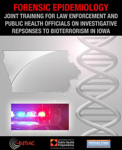 Collage of DNA strand, outline map of state of Iowa, and law enforcement vehicle lights shining at nighttime.