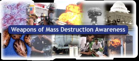 Collage of various WMD situations -- mushroom clouds, emergency personnel, HAZMAT tanker, gas masks, etc.